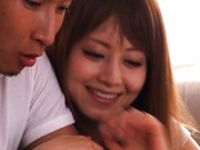 Akiho Yoshizawa Asian model gets a load of cum on her cute tits