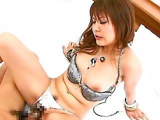 Japanese AV model rides a huge cock