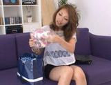 Ria Mamu Japanese model is getting her hairy wet snatch licked picture 1