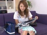Ria Mamu Japanese model is getting her hairy wet snatch licked picture 3