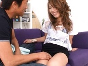 Ria Mamu Japanese model is getting her hairy wet snatch licked