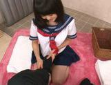 Japanese AV Model in school in uniform gets cum in her mouth picture 12