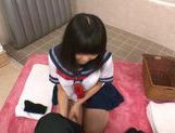 Japanese AV Model in school in uniform gets cum in her mouth picture 13