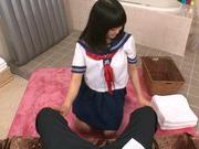 Japanese AV Model in school in uniform gets cum in her mouth