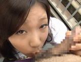 Iori Tsukimoto gives a blow job, and gets a handful of cum picture 13