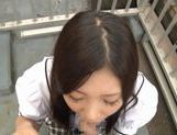 Iori Tsukimoto gives a blow job, and gets a handful of cum picture 4