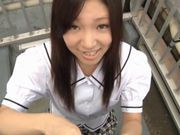 Iori Tsukimoto gives a blow job, and gets a handful of cum