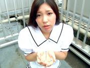 Iori Tsukimoto gives a blow job, and gets a handful of cumcute asian, japanese sex}