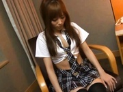 Sexy Japanese AV model in schoolgirl uniform