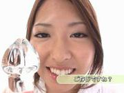 Fetish and cock craving babe Kyoko Maeda playing with her glass dildo and sucking.