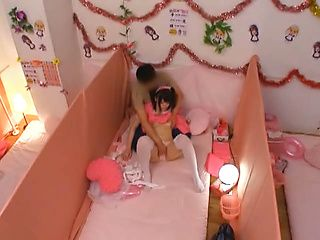 Glorious Japanese AV model is a maid in pink costume gets drilled