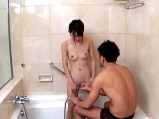 Lovely Japanese schoolgirl takes a shower and gets screwed