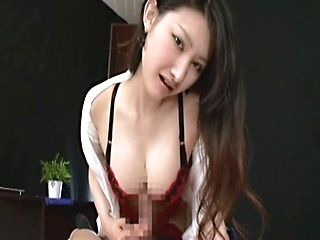 Azumi Mizushima hot milf in stockings gives a great POV handjob