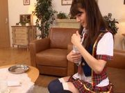 Teen Rei Mizuna gets cumshot straight into her sexy mouth