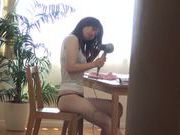 Japanese AV model with small boobs gets her hairy kitty screwed
