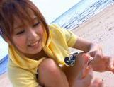 Beautiful Akina Gets Completely Naked On The Beach