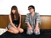 Japanese AV model fondles her pussy