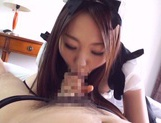 Sexy Japanese maid Himari Yabe deepthroats hard rod on pov picture 15