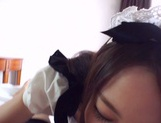 Sexy Japanese maid Himari Yabe deepthroats hard rod on pov