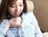 Busty Harumi Asano masturbation in office clothes