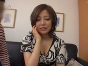 Japanese AV model gets her hairy pussy licked and drilled