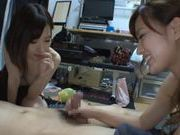 Pair of horny Japanese AV models get a handful of cum