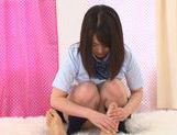 Nice teen An Shinohara gives handjob in her school uniform
