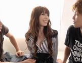 Redhead Yui Hatano gets fingered and fucked by two guys picture 11