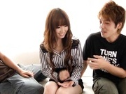 Redhead Yui Hatano gets fingered and fucked by two guys