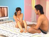 Cute Asian porn star Kyoka Mizusawa pussy fondled and hard fucked in her hairy cunt picture 1