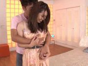 Tight, horny and busty babe Kyoko Maeda getting her pussy licked and hard pounded