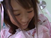 Pretty and busty maid Hitomi Oki in uniform pussy fondled and banged from behind