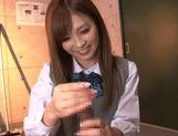 Schoolgirl Rina Kato Spends After School Hours Stroking Dick picture 12