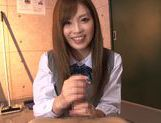 Schoolgirl Rina Kato Spends After School Hours Stroking Dick picture 14