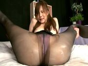 MILF Ameri Ichinose gives a footjob in her pantyhoseasian wet pussy, asian women}