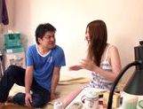 Hot Yui Tatsumi cooks up steamy wild sex with friend picture 13