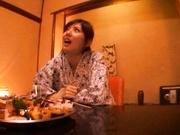 Traditional babe Yuma Asami rides a really big cock for pleasure.