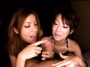 Karera Ariki and Mintu Suzuki sucking a big cock POV style.