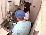Getting dirty in the kitchen with Yuria Ayane giving head picture 1