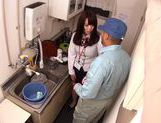 Getting dirty in the kitchen with Yuria Ayane giving head picture 3