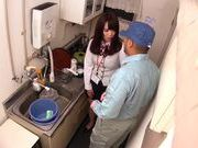 Getting dirty in the kitchen with Yuria Ayane giving head