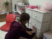 Skinny Japanese model Rin Misuzu rubs her kitty hard