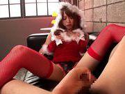 Sexy santa Akiho Yoshizawa gets a hot facial