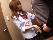 Rina Kato licks ass and makes blowjob in a small room.