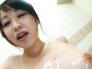 Yuu Shinoda takes a shower with her horny guy