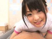 Hot Asian teen gets her body oiled up before she rides in POV