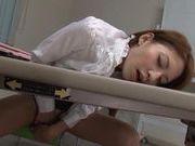 Beautiful Asian milf Risa Mizuki in office suit masturbates