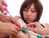 Tomoka Minami's Hairy Pussy Flooded With Sex Toys picture 11