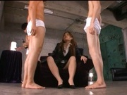 Office Karera Ariki gives a double blowjob and gets a rear fuck.