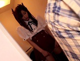 Schoolgirl Eiro Chika Gives A Footjob In Black Thigh High Stockings
